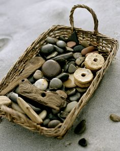 basket filled with beach stones and driftwood too. - andrew montgomery