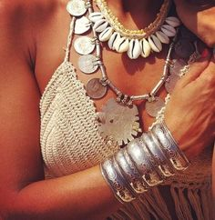 Sexy boho chic crochet bikini crop top with modern hippie tribal inspired shell necklace and gypsy coin necklace & chunky silver cuff bracelet. ↓ ↓ ↓ FOLLOW ↓ ↓ ↓  https://www.pinterest.com/happygolicky/the-best-boho-chic-fashion-bohemian-jewelry-gypsy-/ <<NOW for the BEST Bohemian fashion trends.