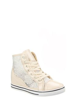 Lace High Top Wedge Trainers - Trainers - Shoes