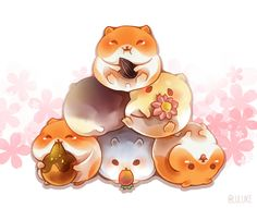 HAM HAM HAM Kawaii Chibi, Kawaii Art, Cute Animal Drawings Kawaii, Cute Drawings, Anime Animals, Cute Animals, Cute Hamsters, Cute Creatures, Leprechaun