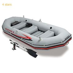 Intex Mariner 4 4-Person Inflatable Boat Set with Aluminum Oars and High Output Air Pump