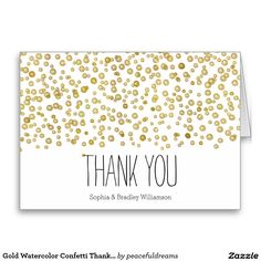 Gold Watercolor Confetti Thank you Stationery Note Card