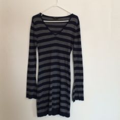 """NWOT BCBG Silk/Cashmere Striped Dress NWOT BCBGMaxazria gray and navy striped v-neck dress. 85% silk 15% cashmere. The material is semi sheer, would recommend wearing a slip underneath! Length is 35"""" BCBGMaxAzria Dresses Long Sleeve"""
