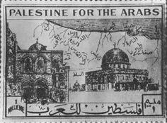 """""""Palestina para los árabes"""". Estampilla de 1938 en apoyo a las fuerzas de la resistencia #palestina, con la imagen de la Iglesia del Santo Sepulcro y la Mezquita de Al Aqsa, simbolizando la unión de cristianos y musulmanes en la lucha."""