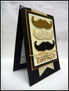 I mustache you, can you imagine a cuter card??  Dad will flip for this handmade father's day card in browns and blacks with a variety of paper used for the mustaches.