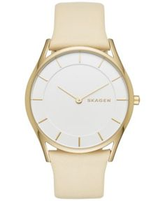 Skagen Women's Slim Holst Light Yellow Leather Strap Watch 34mm SKW2452 - Watches - Jewelry & Watches - Macy's