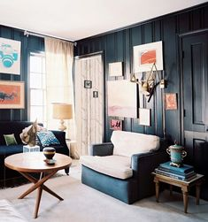 Living Room - Black walls and dark furniture in a living space filled with art. Love these black walls but how do they look at night without any sunlight? Navy Blue Walls, Black Walls, Living Room Photos, Living Spaces, Living Rooms, Fall Home Decor, Interior Inspiration, Nursery Inspiration, Living Room Designs