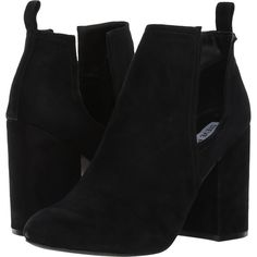 Steve Madden Naomi (Black Suede) High Heels (625 HRK) ❤ liked on Polyvore featuring shoes, chunky heel platform shoes, black high heel shoes, black slip on shoes, suede slip on shoes and black platform shoes