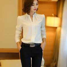 Winter Women Shirts 2016 New Fashion V-neck Collar White Long Sleeve Shirt Thicken Ladies Formal Blouses And Tops Supernatural Style Mode Outfits, Office Outfits, Casual Outfits, Women's Casual, Formal Blouses, Formal Shirts, White Shirts Women, Mode Hijab, Mode Inspiration