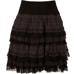 Black lace ruffle skirt - skirts - sale - women