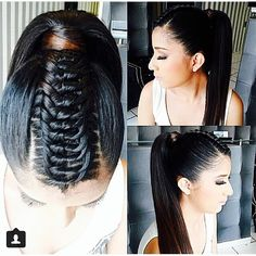 Top tie braid and a ponytale