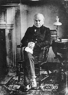 "Photo: daguerreotype of John Quincy Adams taken by Philip Haas, c. 1843. Credit: Wikimedia Commons. Read more on the GenealogyBank blog: ""U.S. Supreme Court Frees 'Amistad' Slaves"" https://blog.genealogybank.com/u-s-supreme-court-frees-amistad-slaves.html"