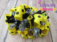 Black and Yellow Dots Boutique Funky Bow by littlebitbows on Etsy