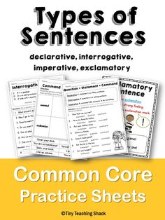 Printables Common Core Practice Worksheets common cores on pinterest types of sentences and end punctuation core practice sheets