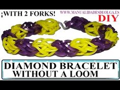 How to make DIAMOND Bracelet with 2 forks. Without rainbow loom