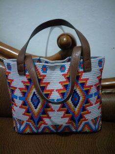 My mochila bags. Tapestry Bag, Tapestry Crochet, Knit Crochet, Aztec Purses, Mochila Crochet, Boho Bags, Loom Weaving, Knitting Accessories, Knitted Bags