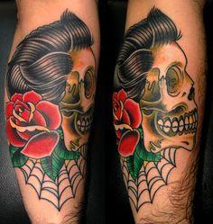 Rockabilly Traditional Tattoo | traditional rockabilly skull and rose