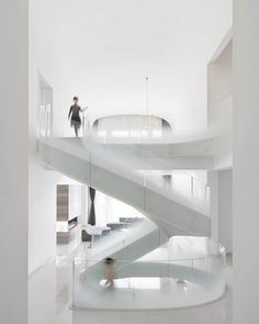 named for its ethereal central the 'cloud villa' in is a three-story private house designed by and concentrated around the sculptural white stairs, the space is designed to be as airy and bright as the skies. image by White Stairs, Stair Detail, Ethereal, 3d Printing, Villa, Clouds, House Design, Architecture, Shanghai