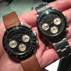 A pair of Rolex SOLO 6239 and 6240 looks relatively low profile in last night GTG but surely rare and stunning  @mesa71  #Rolex #rarerolex #rolexgtg #rolexpassion #rolexvintage #vintagerolex #vintagewatch #daytona #rolexsolo #solorolex #6239 #6240 #paulnewman #submariner #bigcrown #seadweller #drsd #tropical #comex #milsub #milgauss #rolexgmt #prototypedials by silas815