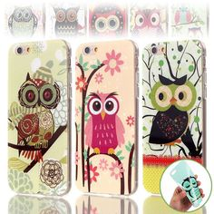 Cute Owls Soft TPU Gel Cover Case for iPhone 6 6s 4.7inch NEW Cartoon Animal Flowers ShockProof Phone Cases Cover for iPhone 6