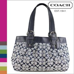Coach Soho Pleated Signature Business Tote Bag Navy 19777