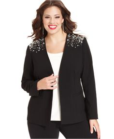 155630c7a0f Calvin Klein Plus Size Beaded-Shoulder Blazer - Plus Size Jackets  amp   Blazers -