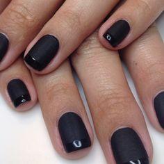 Black Matt shellac nails with shiny tips!