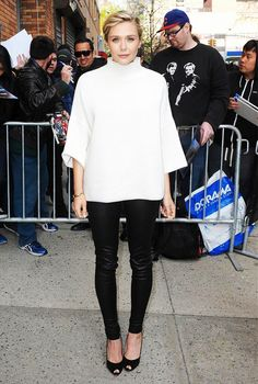 Looking especially beautiful:  On Elizabeth Olsen: The Row turtleneck and leather pants.