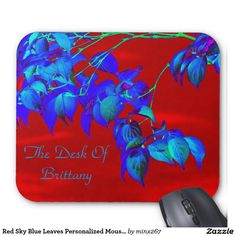 Red Sky Blue Leaves Personalized MousePad