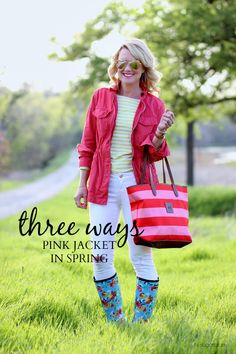Hi Sugarplum | Pink Military Jacket styled three ways for spring outfit style