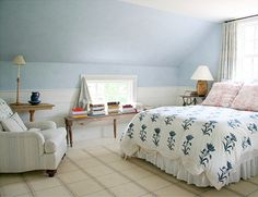 Sarah richardson ceilings and chairs on pinterest - Slanted ceiling paint ideas ...