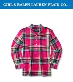 GIRL'S RALPH LAUREN PLAID COTTON TWILL SHIRT (4). A ruffle-trimmed stand collar and a pintucked front give this borrowed-from-the-boys plaid shirt a girlie touch. In soft cotton twill, she'll love wearing this style with a jean or a skirt.