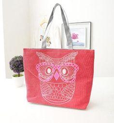 Owl Pattern Canvas Large Capacity Bag