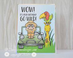 Gerda Steiner go wild Birthday Cards For Boys, Handmade Birthday Cards, Happy Birthday Cards, Safari Animal Crafts, Safari Animals, Party Animals, Wild Animals, Handmade Gifts For Boyfriend, Kids Stamps