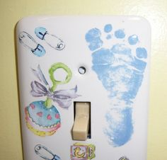 Baby Boy themed steel single light switch by MoanasUniqueDesigns, $10.00