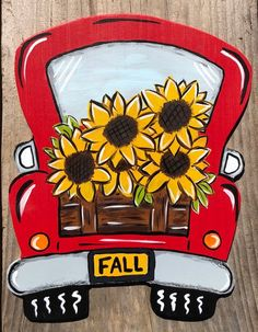 Sunflower wreath signssunflower wreathsred truck wreaths vintage trucksgifts for her wreath supplies Wreath signs wood signsgifts Fall Canvas Painting, Autumn Painting, Halloween Canvas Paintings, Fall Paintings, Halloween Painting, Sign Painting, Rock Painting, Vintage Clipart, Graphics Vintage