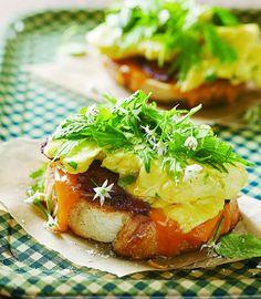 Green Island Farm Open-Faced Egg Sandwich with Local Bacon, Cheddar & Asian Greens | Edible Feast #edibleseasons #ediblespring #ediblekitchen