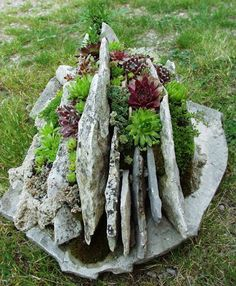 Nice planter using broken pieces of stone or slate.