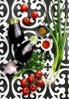 Eggplant with a background of gorgeous tile! via The Design Files.