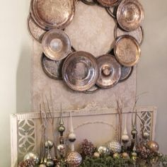 Love this wreath made from old silver platters.  Would make an awesome frame for a mirror too!