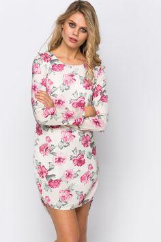 Rose Print Dip Hem Dress