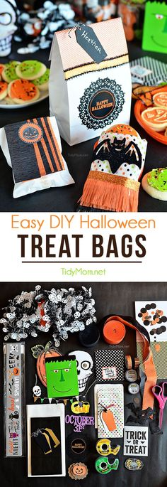 DIY Halloween Treat Bags. Perfect for cookies, candy or halloween favors to pass out to trick-or-treaters or Halloween party guests. Details on how to make 3 different Halloween treat bags at TidyMom.net