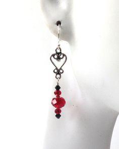 Red Bead Heart Earrings, Sterling Silver, Handmade, One of a Kind Women's Jewelry, Romantic Earrings