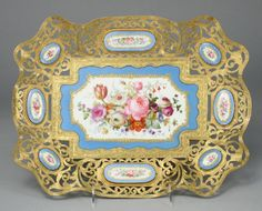 106: A Sevres style bronze dore mounted porcelain tray : Lot 106