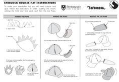 Sherlock Holmes Paper Deerstalker Hat Template by Lee Shearman, via Behance