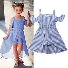 US Stock Kid Baby Girls Striped Off Shoulder Romper Party Dress Outfits Clothes Dresses Kids Girl, Kids Outfits, Stylish Dresses For Girls, Baby Dress Design, Kids Gown, Party Dress Outfits, Romper Dress, Baby Girl Romper, Baby Girls