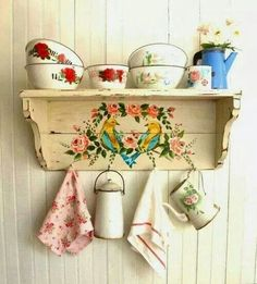 .Floral painted shelf