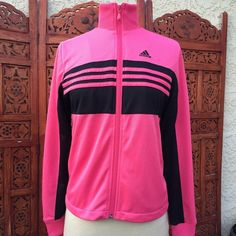 ADIDAS Pink & Black Track Jacket - Sz.XS This pink and track runners jacket by Adidas is perfect for your morning run, or to throw on for a casual look.  Gently worn, no visible signs of wear. Adidas Jackets & Coats