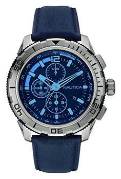 Nautica Herren-Armbanduhr Chronograph Quarz Leder NAI19518G - http://uhr.haus/nautica/nautica-herren-armbanduhr-chronograph-quarz-4