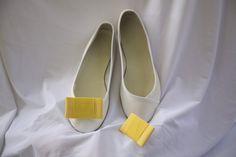 ballerine con fiocco giallo in gros grain